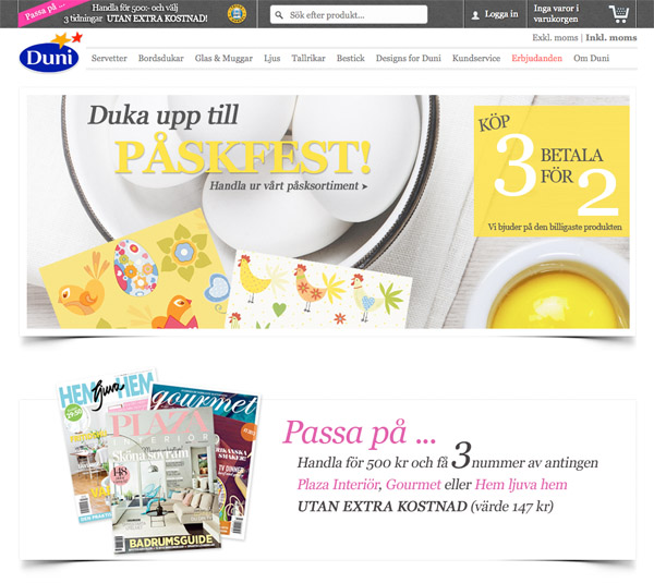 Ny webbshop för Duni